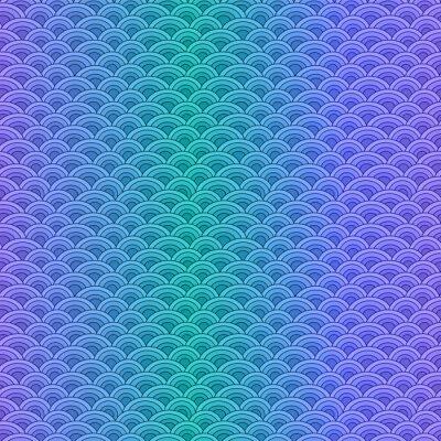 Tapeta Ryby morskie skalują prosty wzór w delikatnych pastelowych kolorach