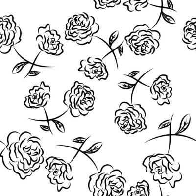 Tapeta Rysowanie grafiki wektorowej z kwiatowym wzorem. Bezszwowe tło. Kwiatowy naturalny wzór kwiatowy. Grafika, szkic rysunku. Róża