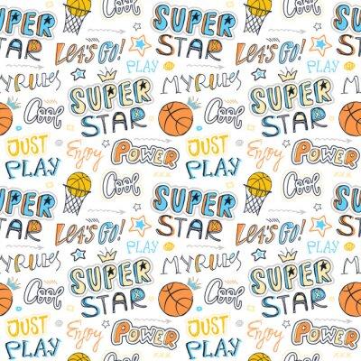 Tapeta Rysunek wzór do koszykówki. Tło sportowe dla dzieci, hasło typografii. Projekt nadruku na koszulki, ubrania, banery, ulotki dla dzieci. Super gwiazda, spoko, moje zasady, moc.