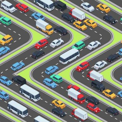 Tapeta Samochody miejskie bezszwowe tekstury. Drogi izometryczne i ruch samochodowy