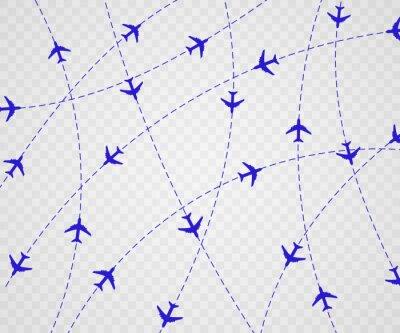 Tapeta Samolot jest w linii kropkowanej. Punkt trasy jest na wycieczkę turystyczną. Wektorowa ilustracja na białym tle. Turystyka i podróże.