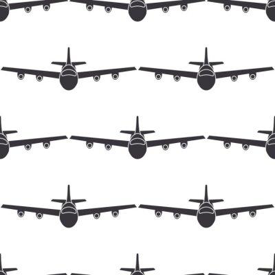 Tapeta Samolot płaski w locie bezszwowe wzór deseniu. Ilustracji wektorowych