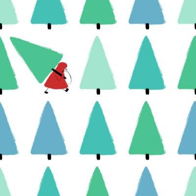 Tapeta Santa Stealing Christmas Tree Seamless Pattern.
