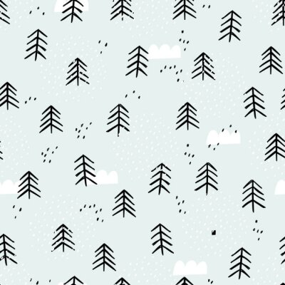 Tapeta Seamless baby pattern with cute winter forest. Creative kids texture for wrapping, textile, wallpaper, apparel and fabric. Winter background.