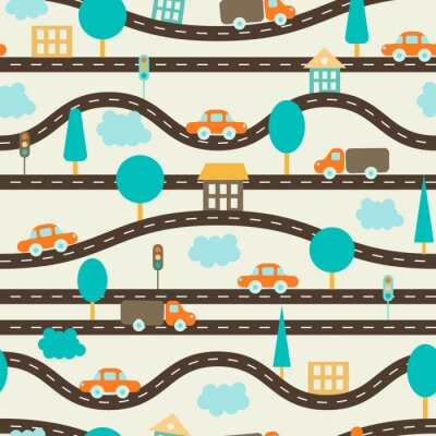 Tapeta Seamless background. Children's pattern with roads, cars, trees, traffic lights, houses and clouds. Brown, orange, blue