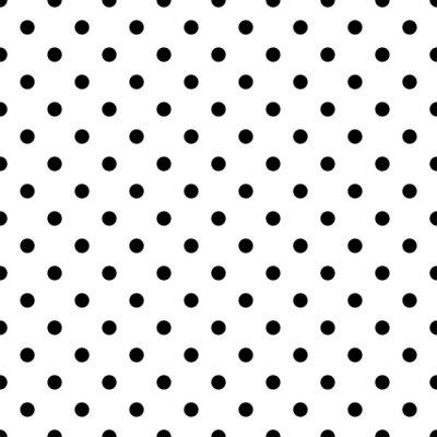 Tapeta Seamless black polka dot pattern on white. Vector illustration.