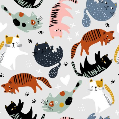 Tapeta Seamless childish pattern with colorful cats in different poses . Creative kids hand drawn texture for fabric, wrapping, textile, wallpaper, apparel. Vector illustration