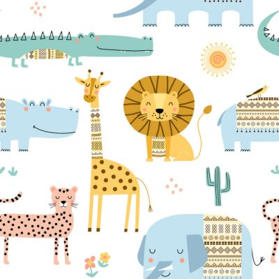 Tapeta Seamless childish pattern with cute African animals. Scandinavian style kids texture for fabric, wrapping, textile. Vector illustration.