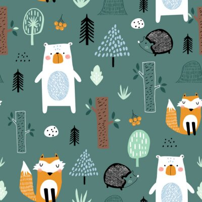 Tapeta Seamless childish pattern with cute bear, fox, hedgehogs in the wood. Creative kids scandinavian style texture for fabric, wrapping, textile, wallpaper, apparel. Vector illustration