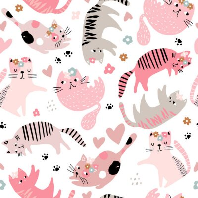 Tapeta Seamless childish pattern with cute girl cats . Creative kids hand drawn texture for fabric, wrapping, textile, wallpaper, apparel. Vector illustration