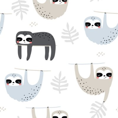 Tapeta Seamless childish pattern with funny sloths. Creative kids texture for fabric, wrapping, textile, wallpaper, apparel. Vector illustration