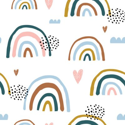 Tapeta Seamless childish pattern with hand drawn rainbows and hearts, .Creative scandinavian kids texture for fabric, wrapping, textile, wallpaper, apparel. Vector illustration