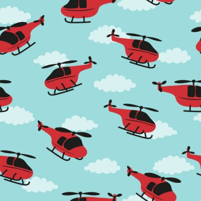 Tapeta Seamless childish pattern with red helicopters and clouds.