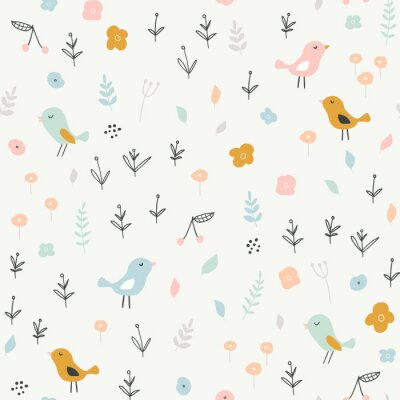 Tapeta Seamless childish pattern with tiny birds and floral elements. Creative scandinavian style kids texture for fabric, wrapping, textile, wallpaper, apparel. Vector illustration