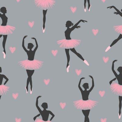 Tapeta Seamless dancing ballerinas pattern. Vector illustration of dancing girls.