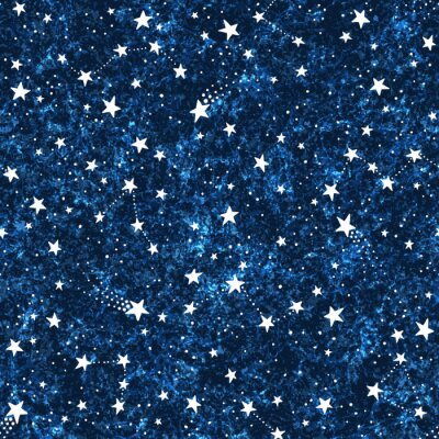Tapeta Seamless dark blue textured pattern with constellations and stars