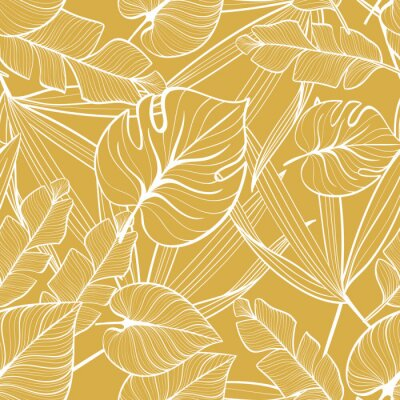 Tapeta Seamless floral pattern with tropical leaves. Line drawing. Hand-drawn illustration.