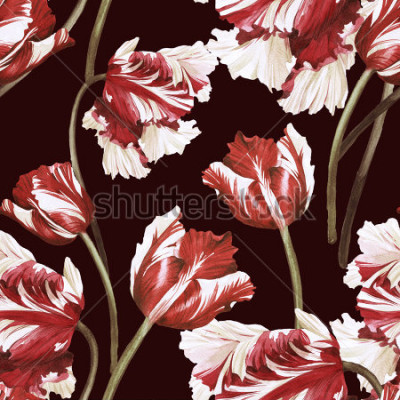 Tapeta Seamless floral pattern with tulips,  watercolor