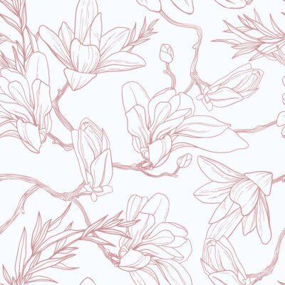 Tapeta Seamless floral vector pattern with magnolia.