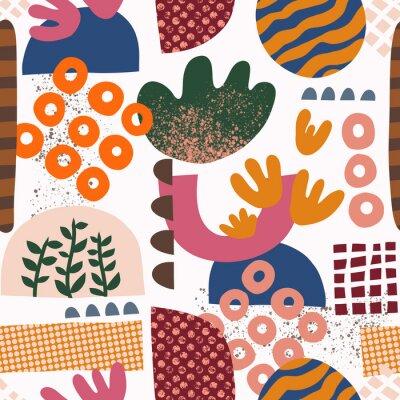 Tapeta Seamless pattern Abstract shapes collage pink orange green blue red. Modern geometric background design for fabric, textile, wallpaper, postcard design. Scandi style, Bauhaus, home decor