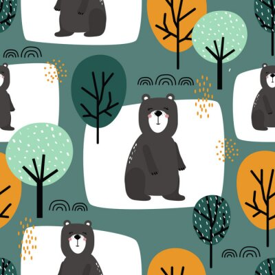 Tapeta Seamless pattern, bears and trees, hand drawn overlapping backdrop. Colorful background vector. Illustration with animals. Decorative wallpaper, good for printing