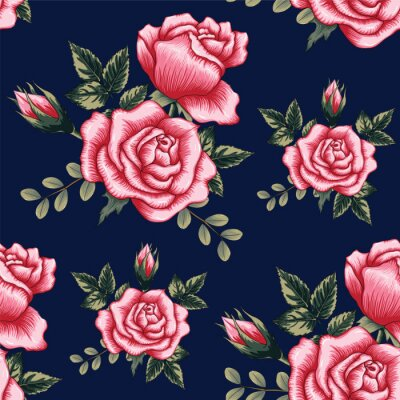 Tapeta Seamless pattern beautiful pink Rose flowers on dark blue color background.Vector illustration hand drawing.