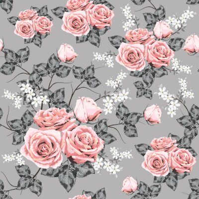 Tapeta Seamless pattern beautiful pink Rose vintage flowers on abstract background.Vector illustration hand drawing watercolor style.