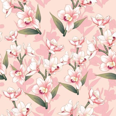 Tapeta Seamless pattern botanical pink Orchid flowers on abstract pink pastel backgground.Vector illustration drawing watercolor style.For used wallpaper design,textile fabric or wrapping paper.