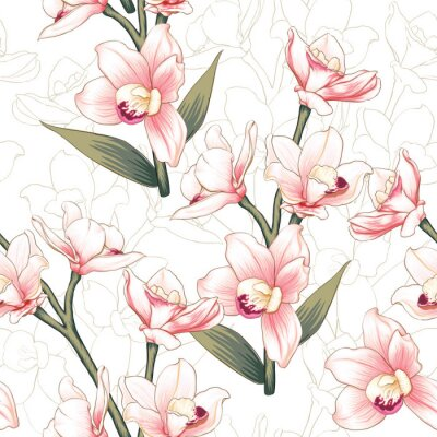 Tapeta Seamless pattern botanical pink Orchid flowers on abstract white backgground.Vector illustration drawing watercolor style.For used wallpaper design,textile fabric or wrapping paper.