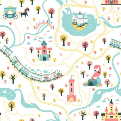 Tapeta Seamless Pattern cards of the fairytale kingdom with a ship at sea, rivers, train and railroad, castles, towers, dragon cave, princess carriage. Illustration in children's cartoon Scandinavian style.