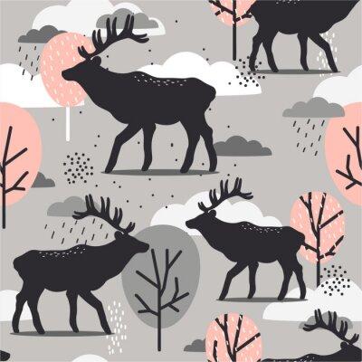 Tapeta Seamless pattern, deers and trees