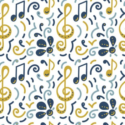 Tapeta Seamless pattern. Doodle vector background, music concert festival. Musical note, treble clef, flowers