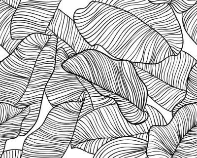 Tapeta Seamless pattern, hand drawn outline black ink banana leaves on white background
