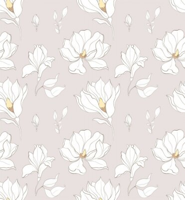 Tapeta Seamless pattern, hand drawn white magnolia blossom.
