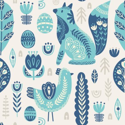 Tapeta Seamless pattern in scandinavian style with bird and fox, tree, flowers, leaves, branches. Folk art. Vector nordic background with floral ornaments and animal illustrations. Home decorations.