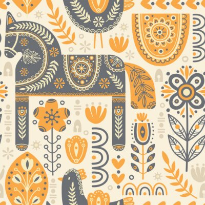 Tapeta Seamless pattern in scandinavian style with horse and bird, tree, flowers, leaves, branches. Folk art. Vector nordic background with floral ornaments and animal illustrations. Home decorations.