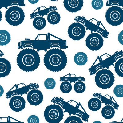 Tapeta Seamless pattern. Monster Truck Vector drawing. Isolated object on a white background. Texture.