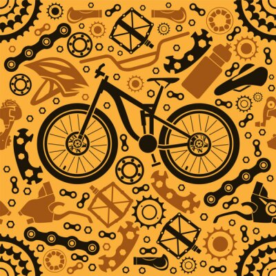 Tapeta Seamless pattern of bicycle parts. Vector image.
