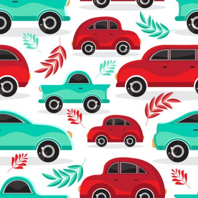 Tapeta Seamless pattern of green and red cartoon car in flat vector. Transport vehicle. Children's cute background toy car. Fun design for textiles, paper, fabric, packaging, Wallpaper,