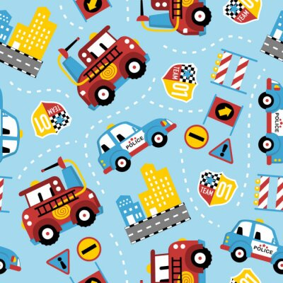 Tapeta seamless pattern of rescue team cartoon. Firefighter, police car, in the city.