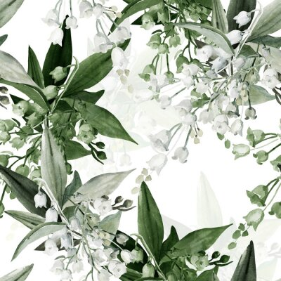 Tapeta Seamless Pattern of  sprigs lily of the valley.