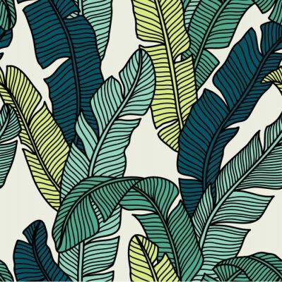 Tapeta Seamless pattern of Tropical palms leaves