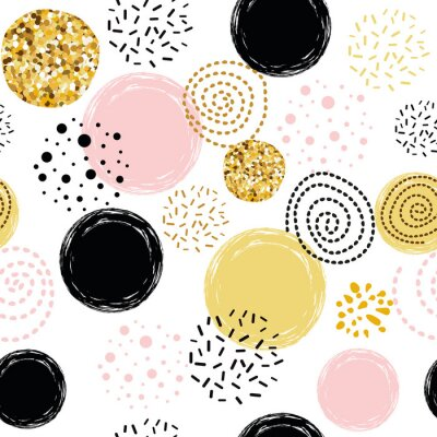 Tapeta Seamless pattern polka dot abstract ornament decorated golden, pink, black hand drawn elements