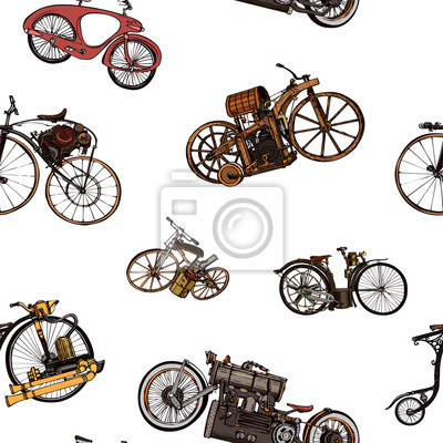 Tapeta Seamless pattern steampunk with old bicycle. Seamless pattern can be used for wallpaper, pattern fills, web page background,surface textures - Vector