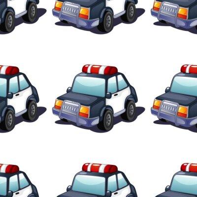Tapeta Seamless pattern tile cartoon with police car