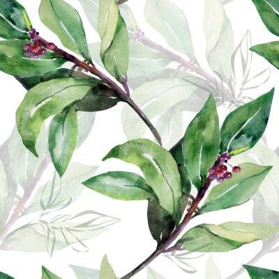 Tapeta Seamless pattern Tree laurel.