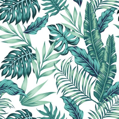 Tapeta Seamless pattern tropical composition white background