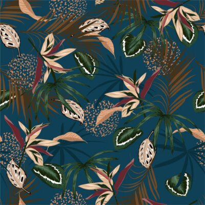 Tapeta Seamless pattern vector Dark Tropical jungle and colorful palm leaves, exotic palnts with animal skin  floral  design for fashion,fabric,web,wallpaper,and all prints