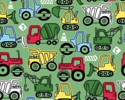 Tapeta Seamless pattern vector of construction vehicles cartoon