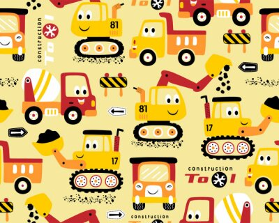 Tapeta Seamless pattern vector with funny construction vehicles